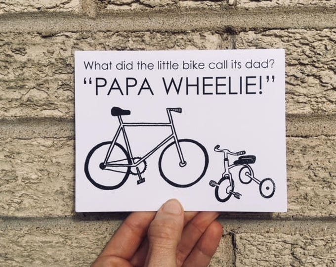 Funny Father's Day Card - Papa Wheelie - Bicycles - Bike Card