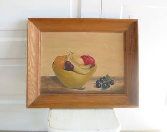 Vintage Fruit Painting, Fruit in Bowl Painting, Oil on Canvas Painting, Fruit Canvas, Vintage Still Life Painting, Vintage Oil Painting