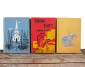 Vintage Colorful Graphic Book Set - Children's Books - Decorative Bindings Novels - Nautical - Southwestern - Fire - Red Yellow Blue