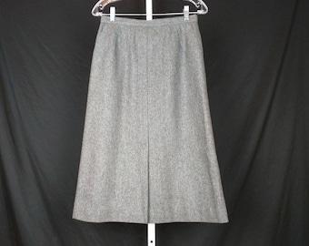 Vintage Gray Wool Blend A-Line Midi Skirt Misses S Evan Picone 70s