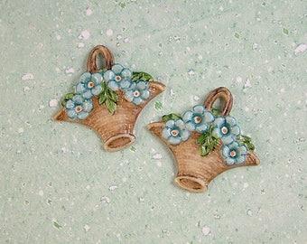 Flower Basket Button set of 2
