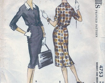 1950s McCall's 4753 Vintage Sewing Pattern Misses Sheath, Slim Dress, Afternoon Dress Size 14 Bust 34