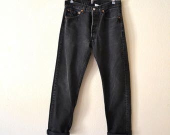 Levis 501 Black Faded Jeans 31 x 32