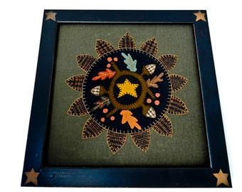 Vintage Applique, Framed Applique, Vintage Framed Applique, Felt Applique,  Vintage Applique