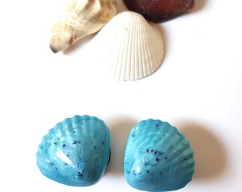 """5/8"""" 16mm Blue Scallop Shell Plugs for Stretched Ears-Seashell-Mermaid Chic-Fashion Gauges-Girly Body Jewelry-Ocean Princess-Gifts for Her"""