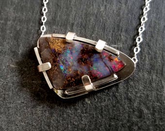 Australian opal necklace / natural opal / boulder opal / October birthstone / opal jewelry / opal necklace / opal pendant / gift for her