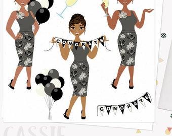 Congratulations celebration woman clip art, party balloons, champagne clipart, congrats girl, african american dark skin tones (Cassie L274)