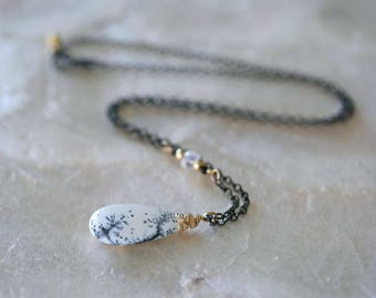 Dendritic Opal Necklace, Opal Necklace, Black Chain, White Pendant, Briolette Necklace, Beauty Gift, Gift for Her, October Birthday, Pendant