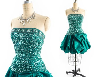 "Vintage 80s Prom Dress // 1980s Prom Dress // 80s Prom Gown // Mini Dress // Strapless Dress // Bubble Dress - sz S - 26"" Waist"