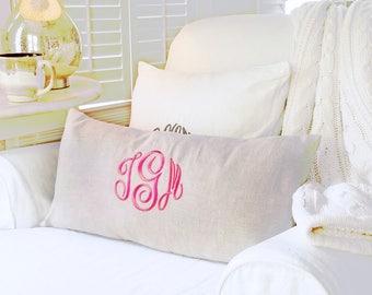 Monogram Pillow Cover, Wedding Gift, Nursery Decor,Monogram Linen Pillow Cover ,Personalized Pillow Cover, Home & Living Decor by OhKoey