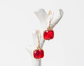 Ruby red, gold, small teardrop, affordable, crystal, dangle, unique, beach, sea glass, jewelry, handmade in Santa Cruz