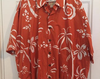 Vintage Hawaiian Shirt, Short Sleeve Cotton Shirt, Palm Trees Hawaiian Shirt Sz 2XL 3XL, Tropical Shirt, Orange Shirt Kahala Made in Hawaii