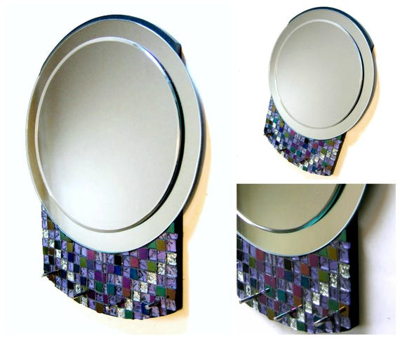 Mosaic Mirror, Art Deco Style Round Mosaic Mirror, Three Dimensional 3D Mirror with Hooks, Purple Silver Black Round Mosaic Mirror with Hook