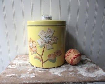 Vintage Krispie Kan yellow tin canister cracker chip cookie jar Mid century Kitchen Storage Luce Manufacturing