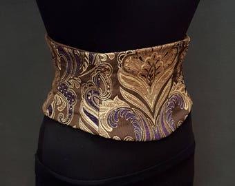 LAST ONE Brown and Purple Tapestry Waist Cincher Obi Corset Belt Size XS