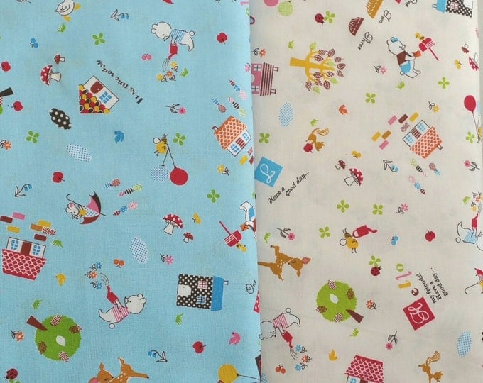 Japanese Cotton Fabric - Hello My Friends - CR4412A Bear and Friends, 2 fat quarters