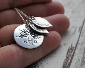Personalized Family Tree Necklace - Family of Four Oak Tree w/ Two Leaf Charms in Sterling Silver - EWDJewelry