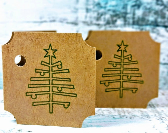Rustic Christmas Tree Present Gift Tag Set