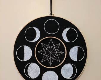 Moon Phase Wreath Embroidery Wall Hanging Door Art Black White Silver 14 Inch Star Space Dark Witchy Lunar Phases Handmade Stitch Halloween