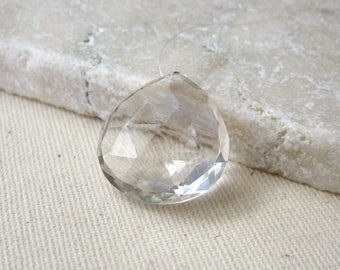 Large Crystal Quartz Faceted Heart Bead 18.5 x 19.25 mm - Gemstone Focal Pendant