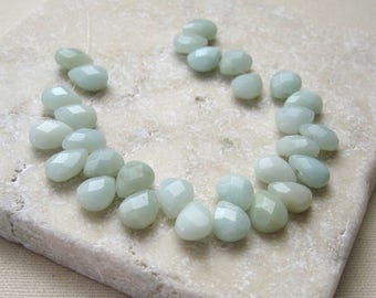 Amazonite Faceted Teardrop Beads 6.5x9mm - 29 Beads