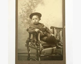 Antique late Victorian / early Edwardian cabinet card photo of young boy in sailor suit and hat indentified as Ralph Randall / Brooklyn