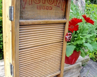 """WASHBOARD CABINET--REcycled""""VICTORY""""WooD Washboard by Natl.' Washboard Co.-old Red Faucet knob-Great Medicine Cabinet-""""My True Rescue Story"""""""
