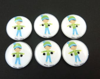 """6 Male Figure Skater Buttons. 3/4"""" or 20 mm round."""