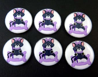 """6 Cat Buttons. Black and White Cat or Kitty Buttons with Purple Bow and Pillow. 3/4"""" or 20 mm.  Sewing, Knitting, Crochet Accessories."""