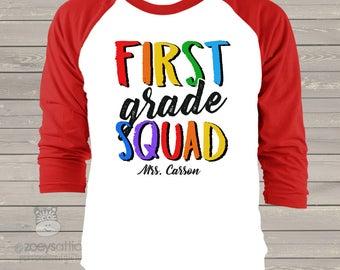 Teacher team shirt - any grade squad personalized adult raglan shirt for teachers  TGSR