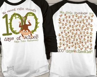 Teacher shirt - 100 Days of school - monkey 100 hundred day personalized unisex raglan shirt   mscl-114-r