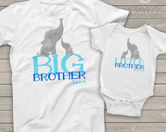 Big brother little brother/Big sister little sister/any combination matching shirts ELEPHANT personalized sibling shirts TWO shirts MELE-002