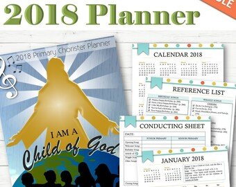 EDITABLE Primary Chorister Planner 2018 - INSTANT DOWNLOAD