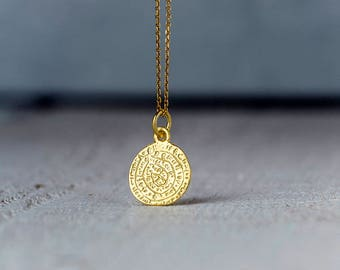 Phaistos Disc Necklace in 14k solid Gold Ancient Greek Coin Gift for Her Layering Necklace Bridal necklace Dainty necklace