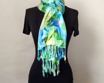 Blue Green Scarf, Handpainted Scarf, Blue Green Wrap, Soft Rayon Challis, 22x74 inches, Scarf With Fringe, Cozy Scarf