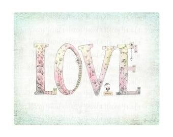 """art print - word art - bird - flowers - heart - pink -  """"Love"""""""