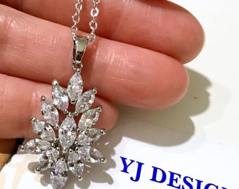 Marquise Bridal Necklace,  Leaves Wedding Necklace, Vines Leaf Necklace, Cubic Zirconia Cz Necklace, Woodland Wedding Jewelry, CASSIE