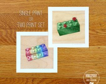 ROYGBIV or Foliage Brick - Mini Fine Art Print