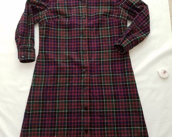 Vintage Pendleton Shirt Dress Size 16 Wool Plaid Navy Red Holiday Christmas  Long