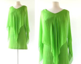 60s Chiffon Dress | Katydid | 1960s Cocktail Dress | XS