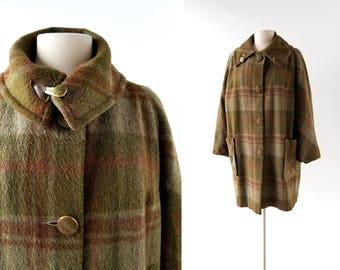 1960s Plaid Coat | Sapientia et Doctrina | 60s Coat | L XL