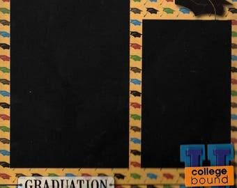 Graduation, Pre-Made Scrapbook Album Page, 8x8, Senior Quick Page, School Page, Will work on a 12x12 page