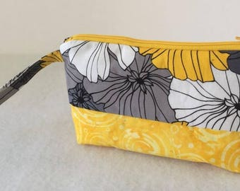 Cosmetic Bag, Wristlet, Clutch, Small Purse, Great for Travel, with Zipper in Yellow and Gray