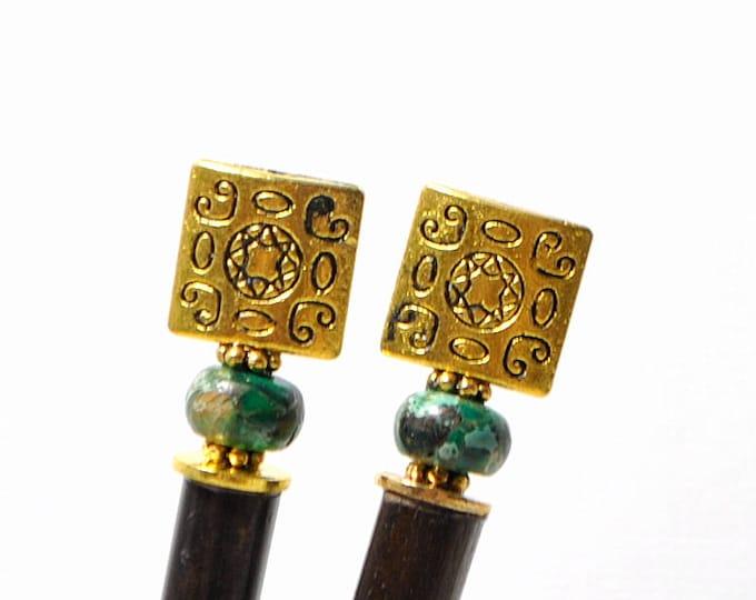 """Desert Sun Hair Sticks Gold Green Hairsticks Japanese Hair Pins Hair Stick Pair of Hair Sticks - """"Taja"""""""