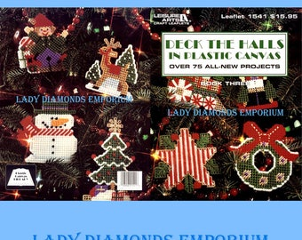 Deck the Halls in Plastic Canvas, Vintage Leisure Arts Book #1541 Over 75 Projects Book 3 Christmas Décor & Ornaments Santa Angel Reindeer