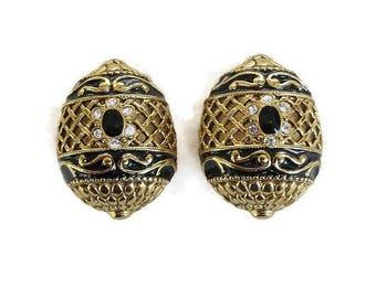 Joan Rivers Signed Black Enamel & Clear Rhinestone Romanian Egg Earrings Vintage