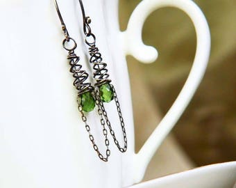 Artisan Green Apatite and Sterling Silver Openwork Cone Earrings