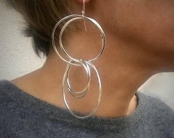 Large Multi Hoop Sterling Silver Dangle Earrings - Boho Chic Silver Jewelry