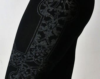 Hell Couture Black & Gray Kruzifixx Leggings