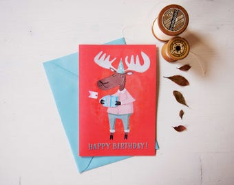 Moose birthday card, greeting card & envelope, coral pink and light blue illustration, funny birthday card